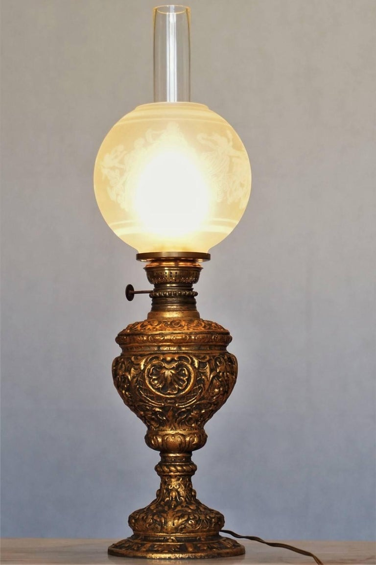 Art Nouveau 19th Century High Relief Gild Bronze Oil Lamp Converted to Electric Table Lamp For Sale