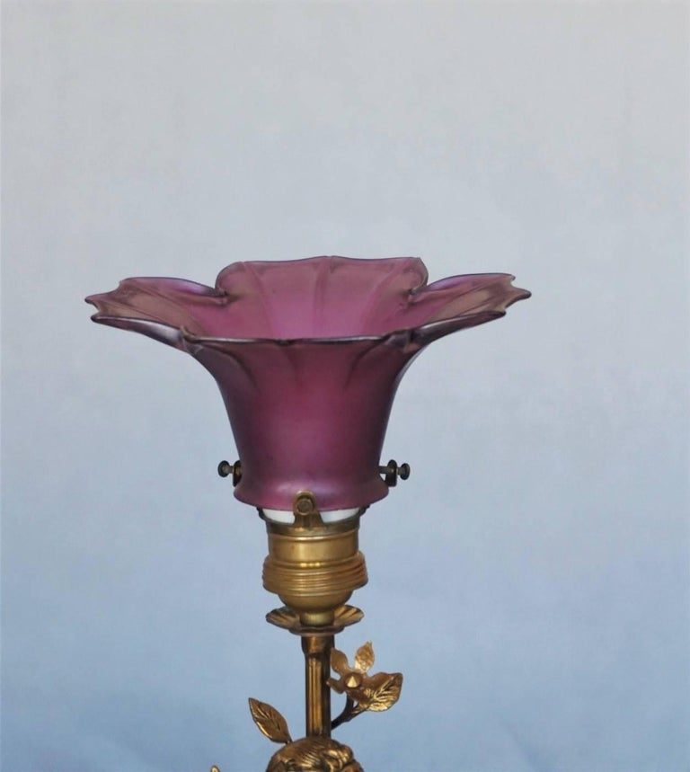 Early 20th Century French Art Nouveau Gilt Bronze Cherub Table Lamp Candelabra For Sale 1