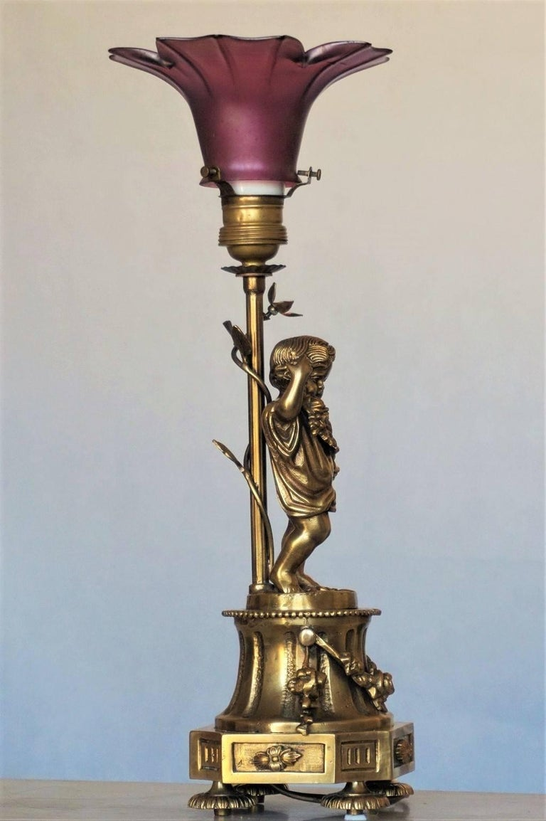Early 20th Century French Art Nouveau Gilt Bronze Cherub Table Lamp Candelabra For Sale 2
