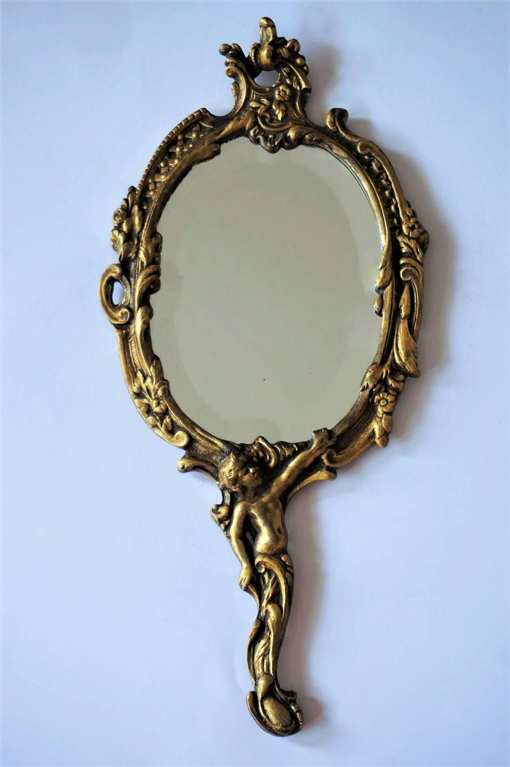 Ornate hand mirror Victorian Style French Art Nouveau Gilt Bronze And Faceted Hand Mirror Richly Ornate With Florals And With Figurine 1stdibs 19th Century French Art Nouveau Gilt Bronze Hand Mirror Faceted