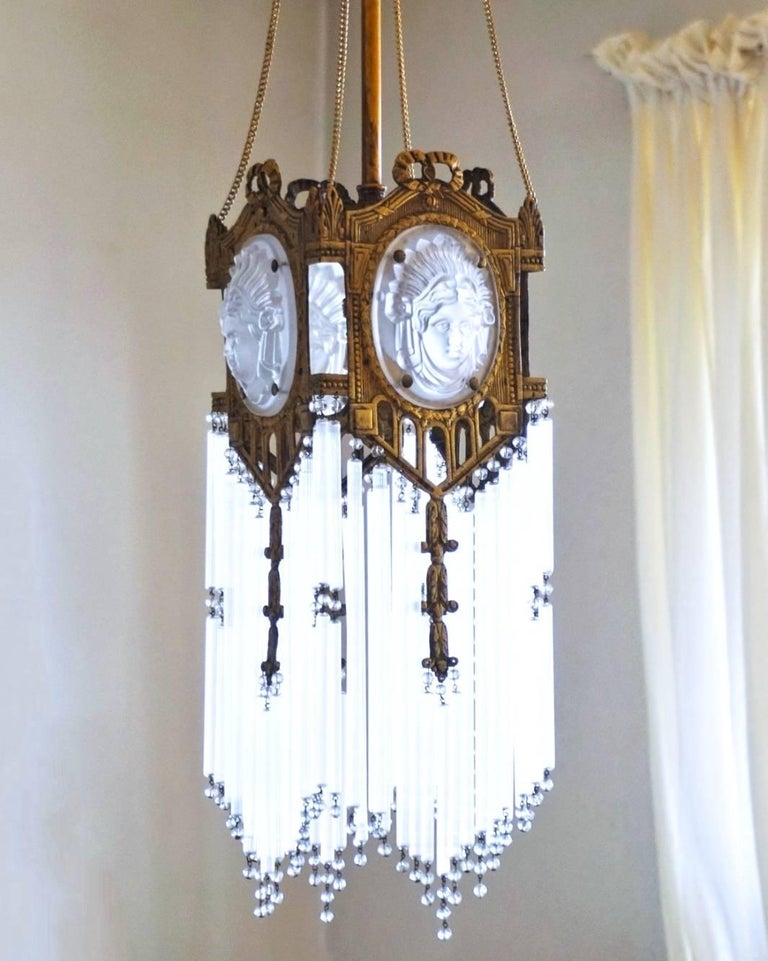 Unique 19th century french gilt bronze and crystal empire for Unique chandeliers for sale