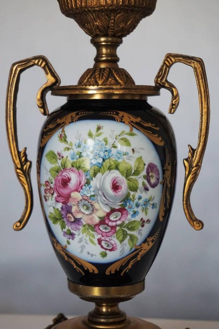 Pair Of Vintage Cobalt Blue Ace Decor De Paris Porcelain