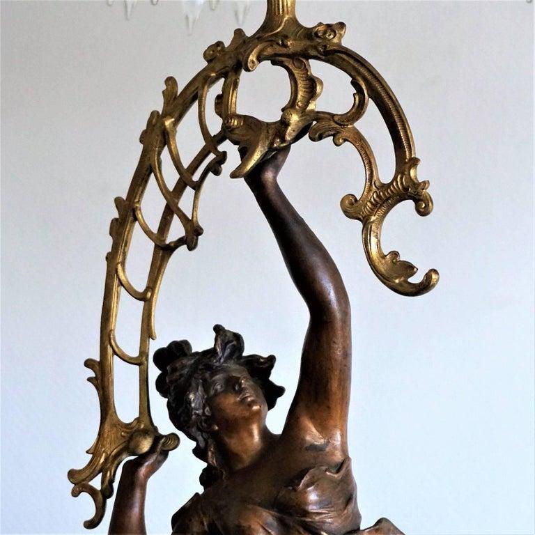 19. Jahrhundert, Paar Französische Empire Bronze Figuren und Vergoldete Bronze Kandelaber 4