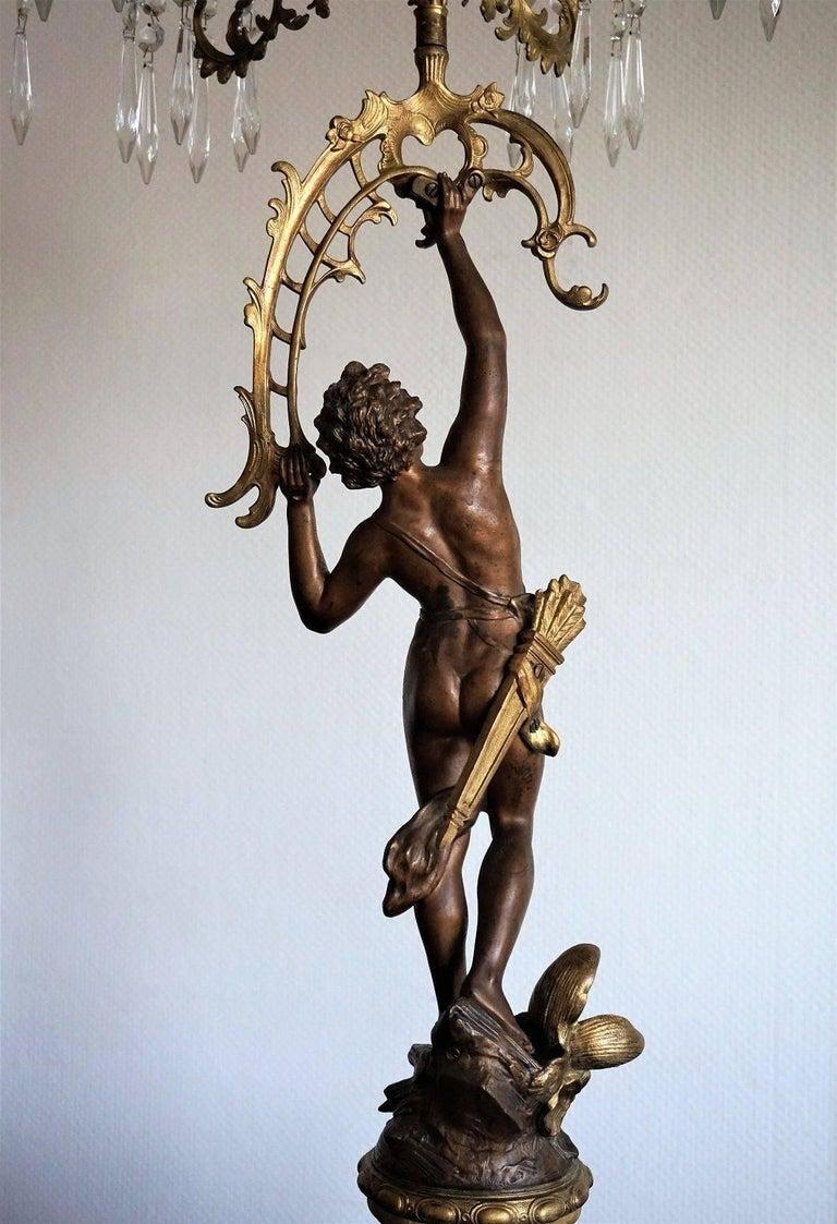 19. Jahrhundert, Paar Französische Empire Bronze Figuren und Vergoldete Bronze Kandelaber 7