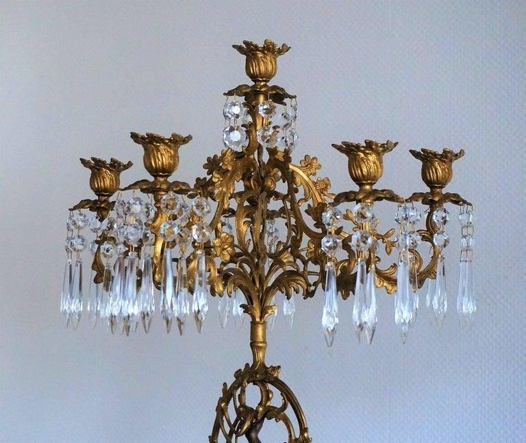 19. Jahrhundert, Paar Französische Empire Bronze Figuren und Vergoldete Bronze Kandelaber 8