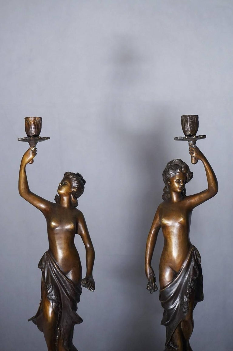 19th Century Pair of French Bronze Sculpture Torchères Candleholders Signed 2