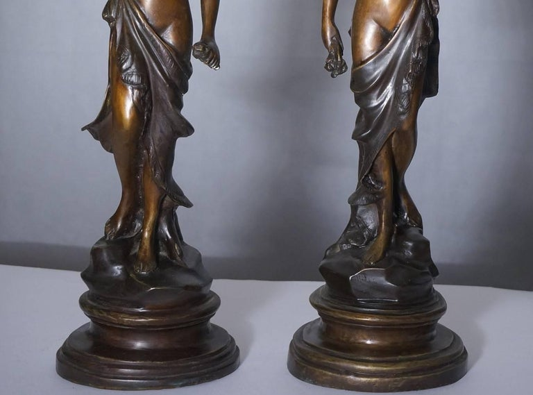 19th Century Pair of French Bronze Sculpture Torchères Candleholders Signed 3
