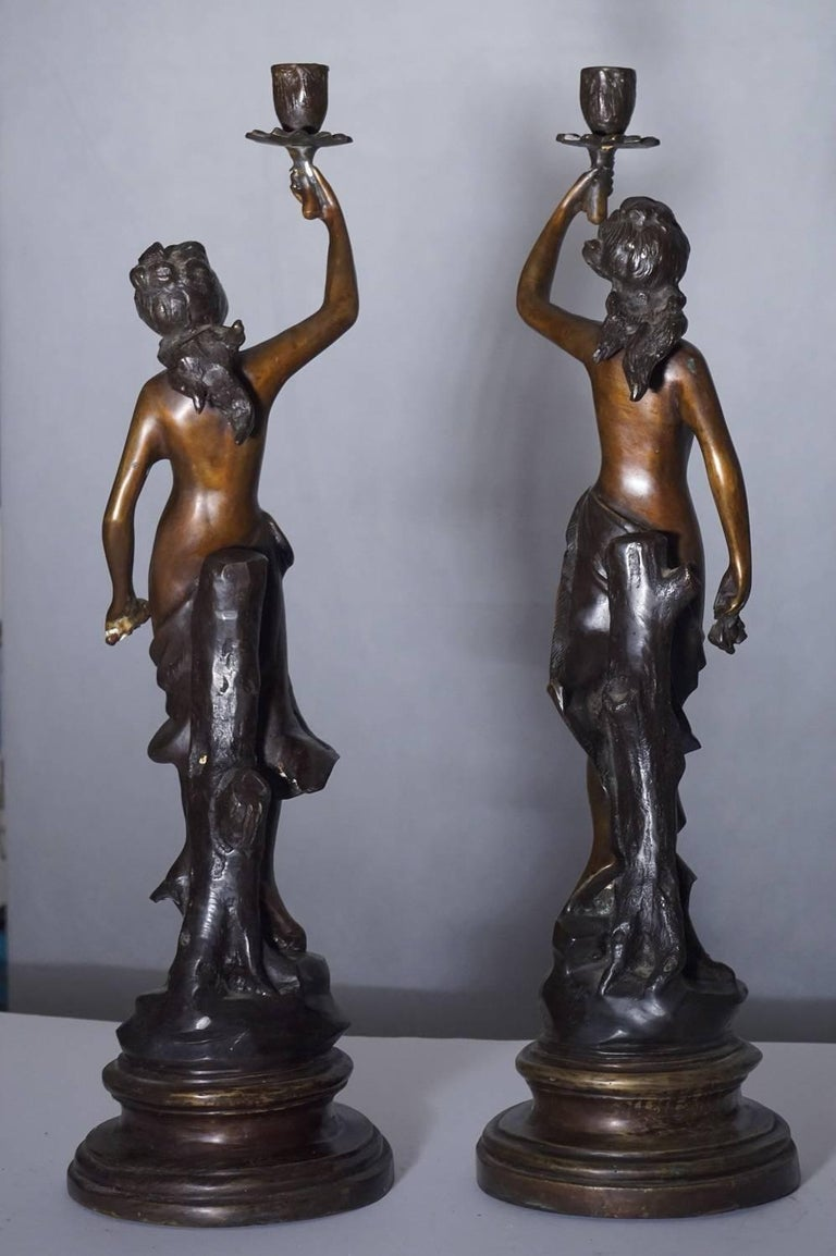 19th Century Pair of French Bronze Sculpture Torchères Candleholders Signed 8