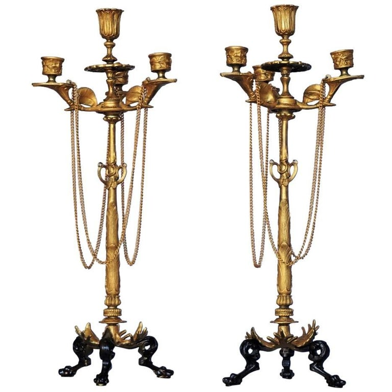 19th Century Pair of French Empire Bronze Four-Light Candelabra, Candleholders