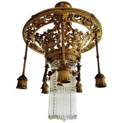 Late 19th Century French Empire Style Gilt Bronze Six-Light Chandelier