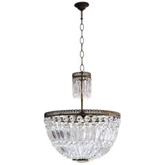 Midcentury French Cut Crystal Corbeille Style Five-Light Chandelier