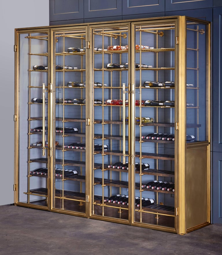 Brass Wine Room with Brass Framed Glass Doors and Pulls and Brass Wine Racks 3