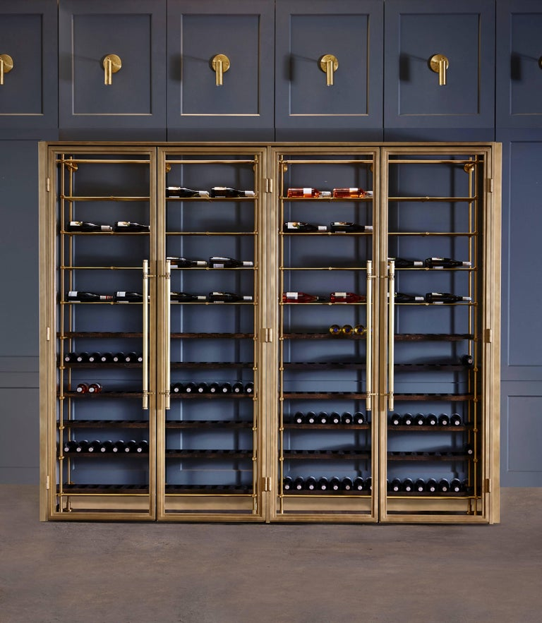 Brass Wine Room with Brass Framed Glass Doors and Pulls and Brass Wine Racks 2