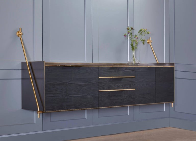 Modern Amuneal's Collector's Bronze Clad Wall Hanging Credenza For Sale