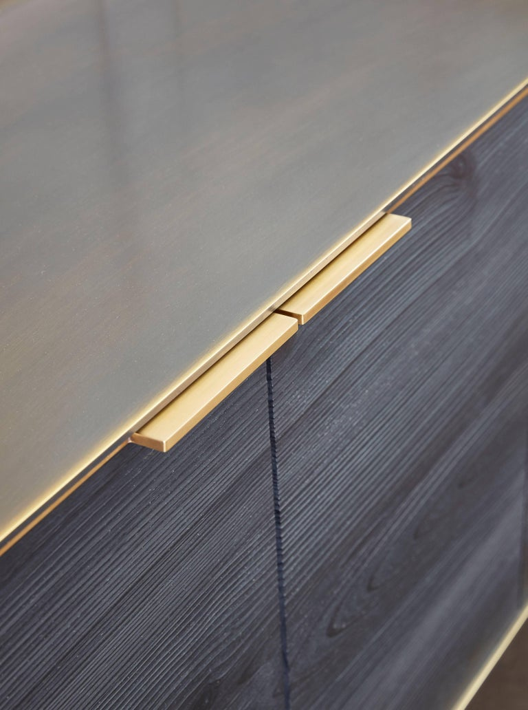 Brass Amuneal's Collector's Bronze Clad Wall Hanging Credenza For Sale
