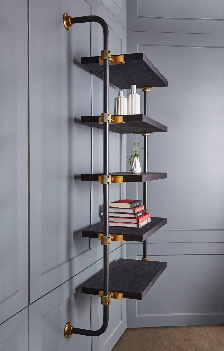 Wall Mounted Adjustable Loft Shelves With Brass Fittings