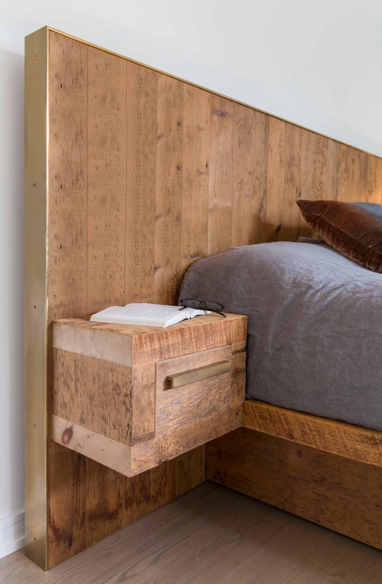 Rustic Modern Bed With Concealed Storage In Reclaimed Pine