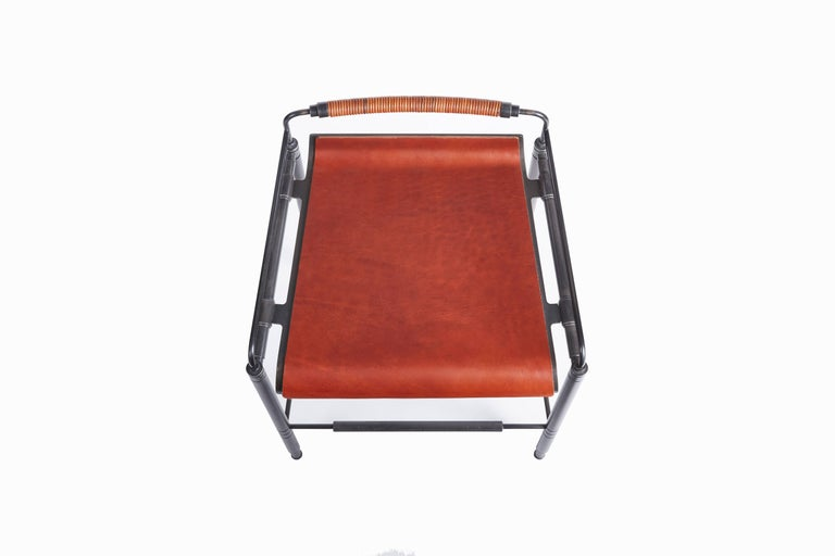 Blackened Amuneal's Leather Stool (Counter Height) For Sale
