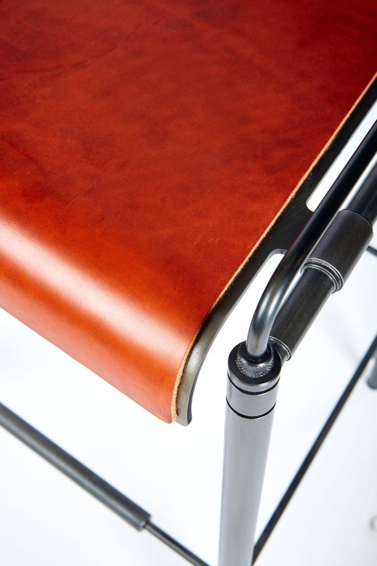 Steel Amuneal's Leather Stool (Counter Height) For Sale