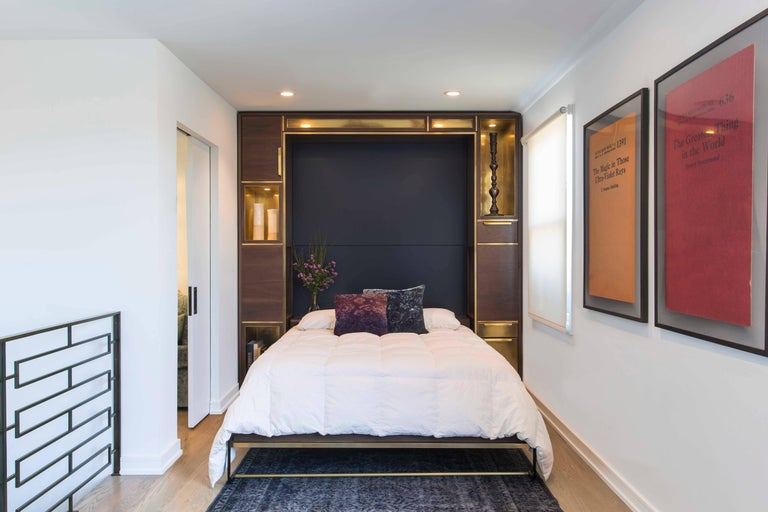 American Amuneal's Murphy Bed in Silvered Walnut and Warm Brass For Sale