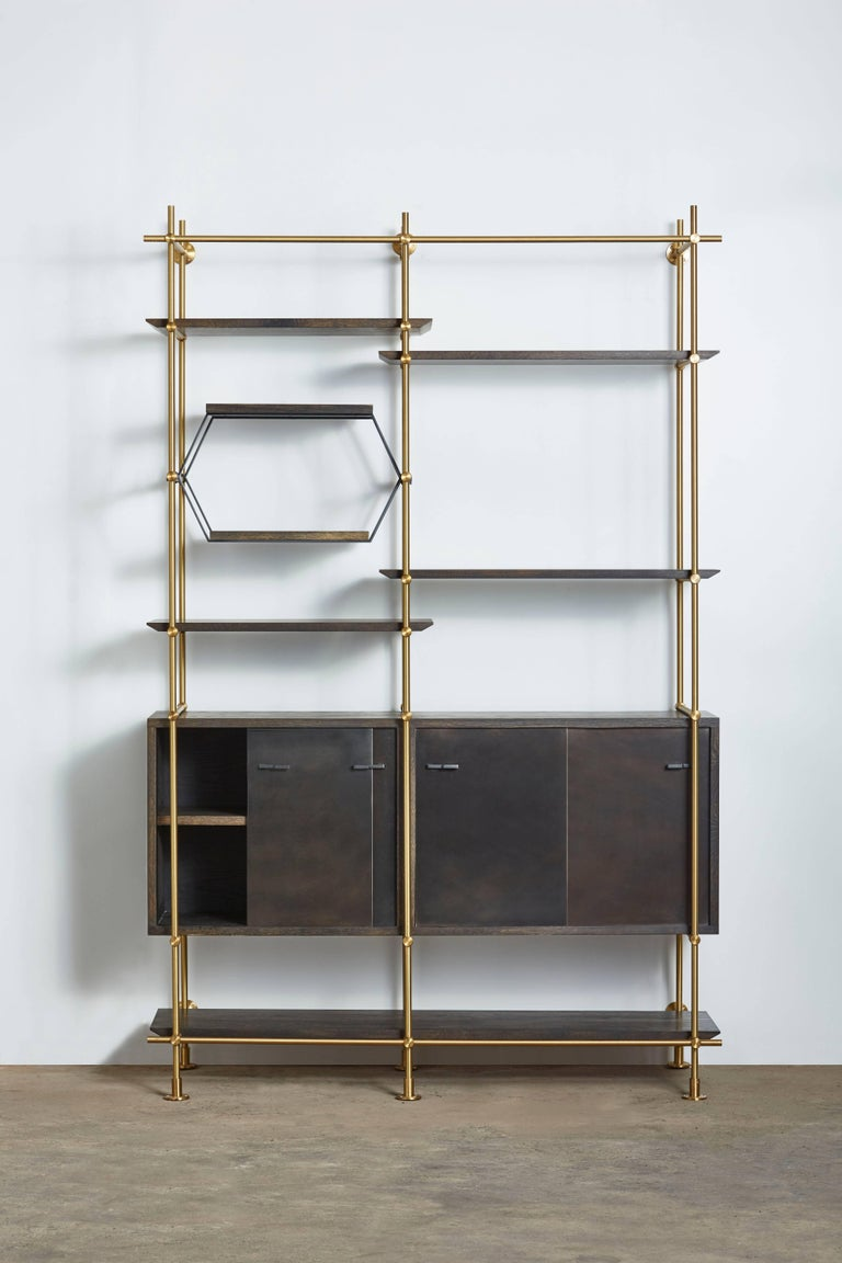 Two Bay Collector S Brass Shelving Unit With Oxidized Oak