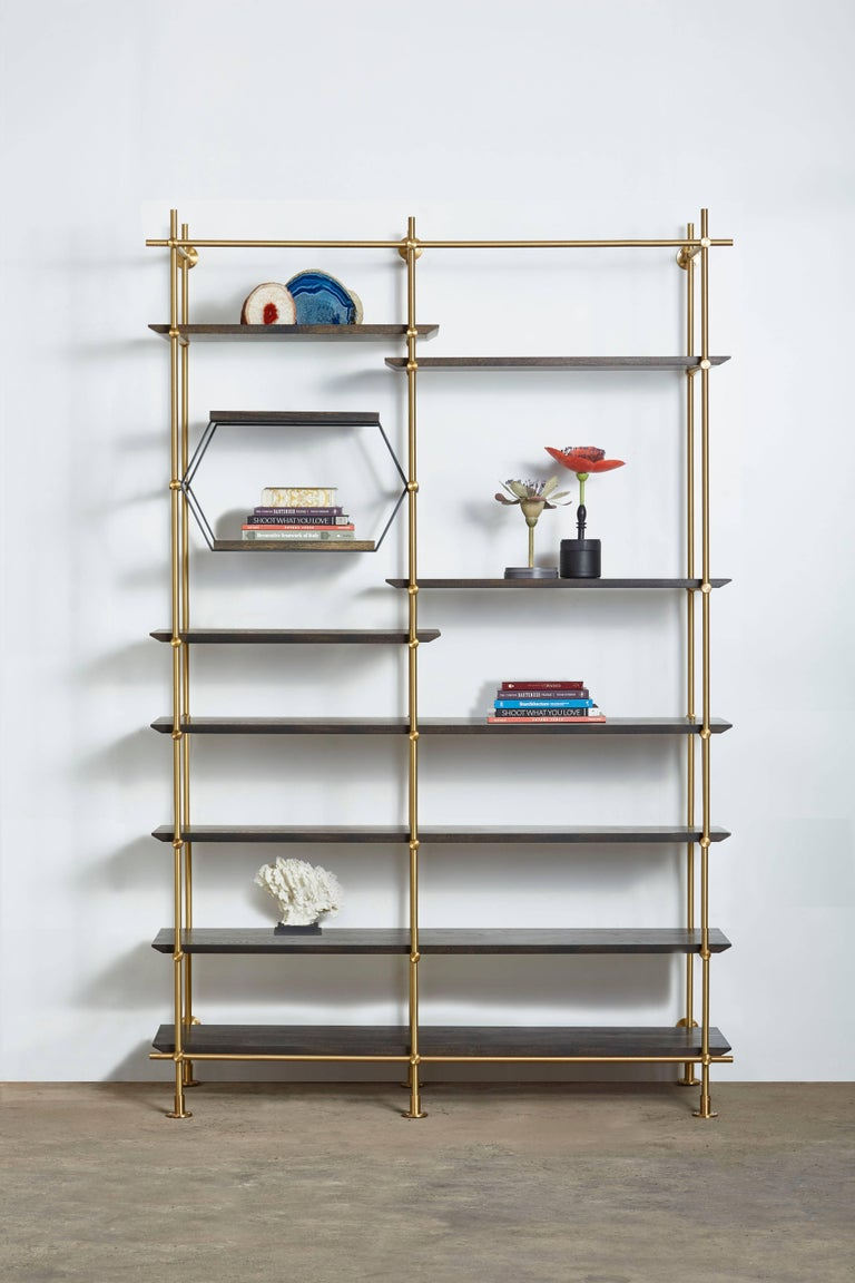 Modern  Amuneal's 2 Bay Collector's Brass Shelving Unit+Oxidized Oak Adjustable Shelves For Sale