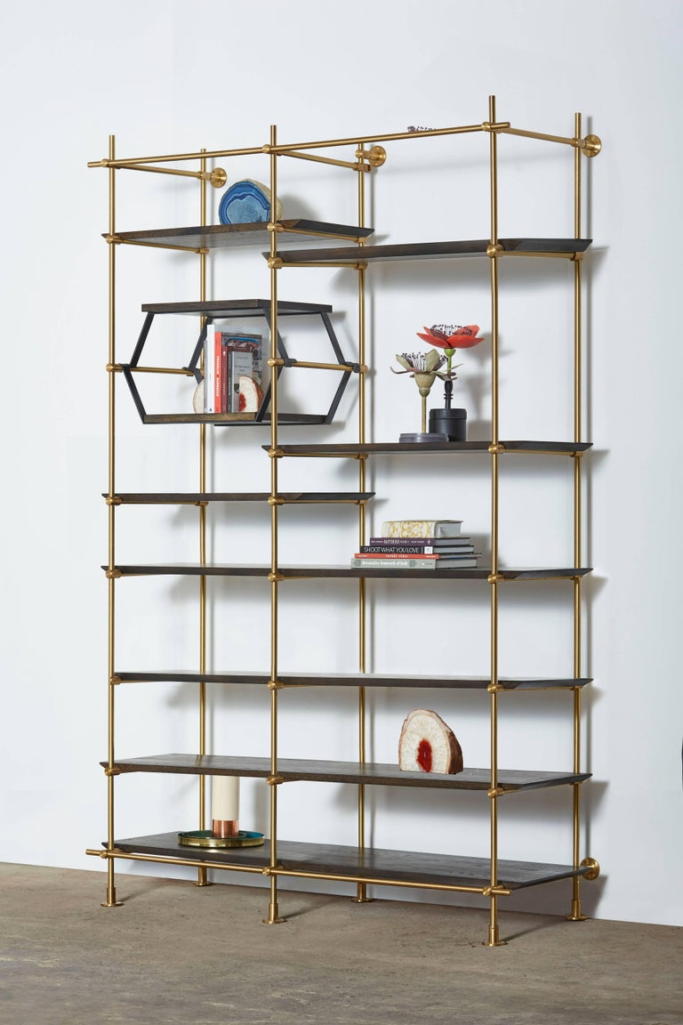 American  Amuneal's 2 Bay Collector's Brass Shelving Unit+Oxidized Oak Adjustable Shelves For Sale