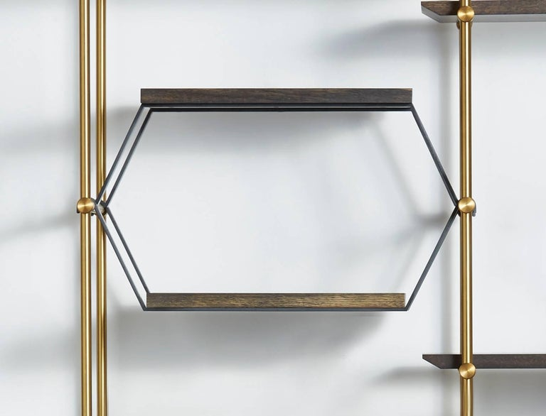 Metalwork  Amuneal's 2 Bay Collector's Brass Shelving Unit+Oxidized Oak Adjustable Shelves For Sale