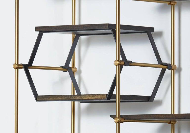 Amuneal's 2 Bay Collector's Brass Shelving Unit+Oxidized Oak Adjustable Shelves In New Condition For Sale In New York, NY