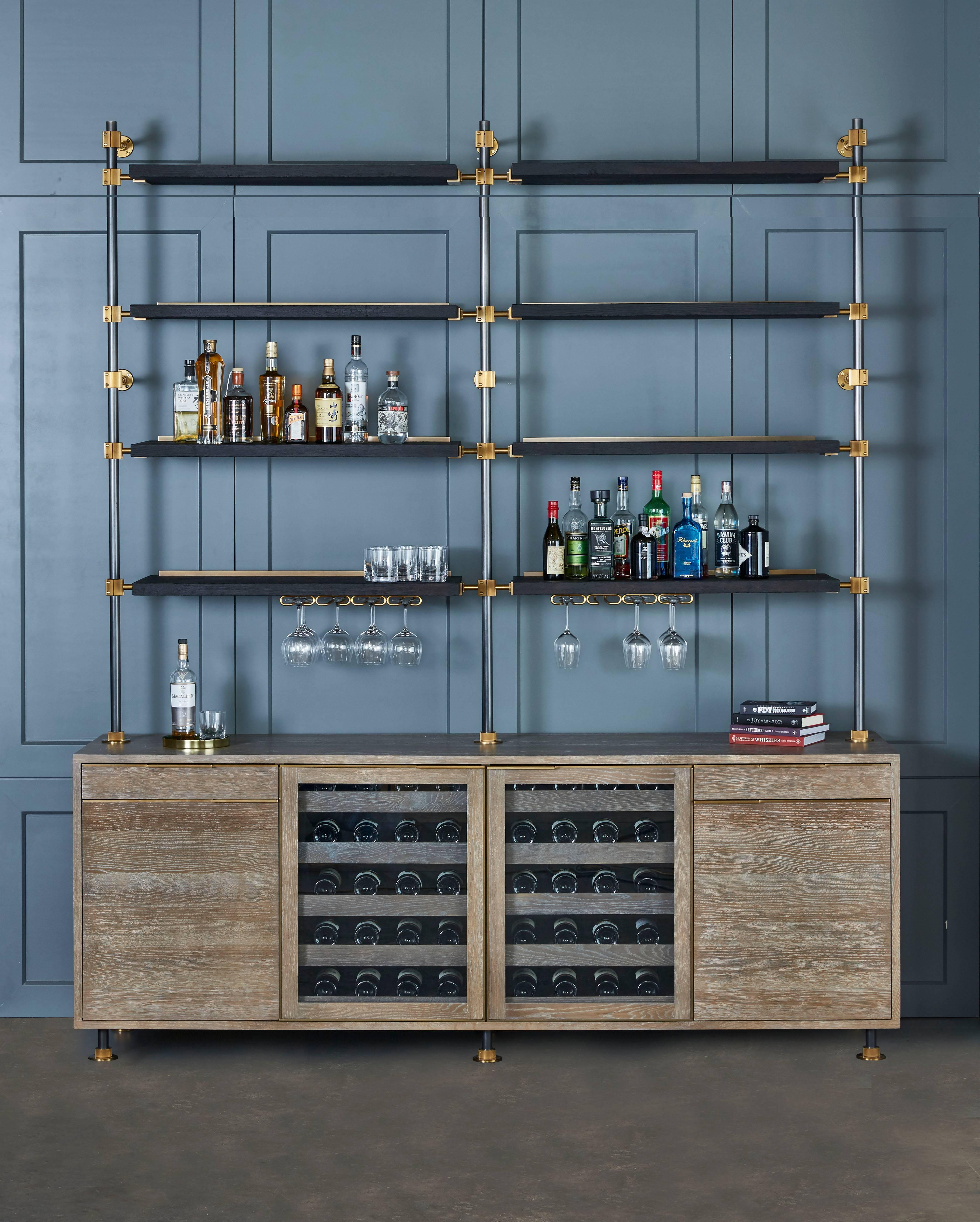 Amuneal\'s Loft Bar with Oak and Brass Bar Cabinet, Wine Storage and ...