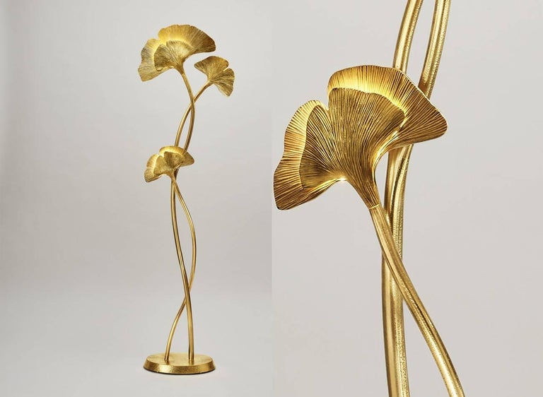 Gingko Biloba floor lamp Design by Chrystiane Charles Made in France by Charles Paris Arms are made of brass and gilded Leaves are made of bronze and gilded Base is made of bronze and gilded Signed and numbered 002.