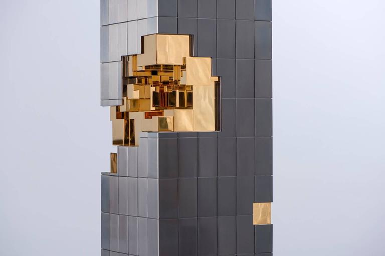 Gilt Tower Sculpture, Design Michael Wagner, Made in France by Charles Paris For Sale