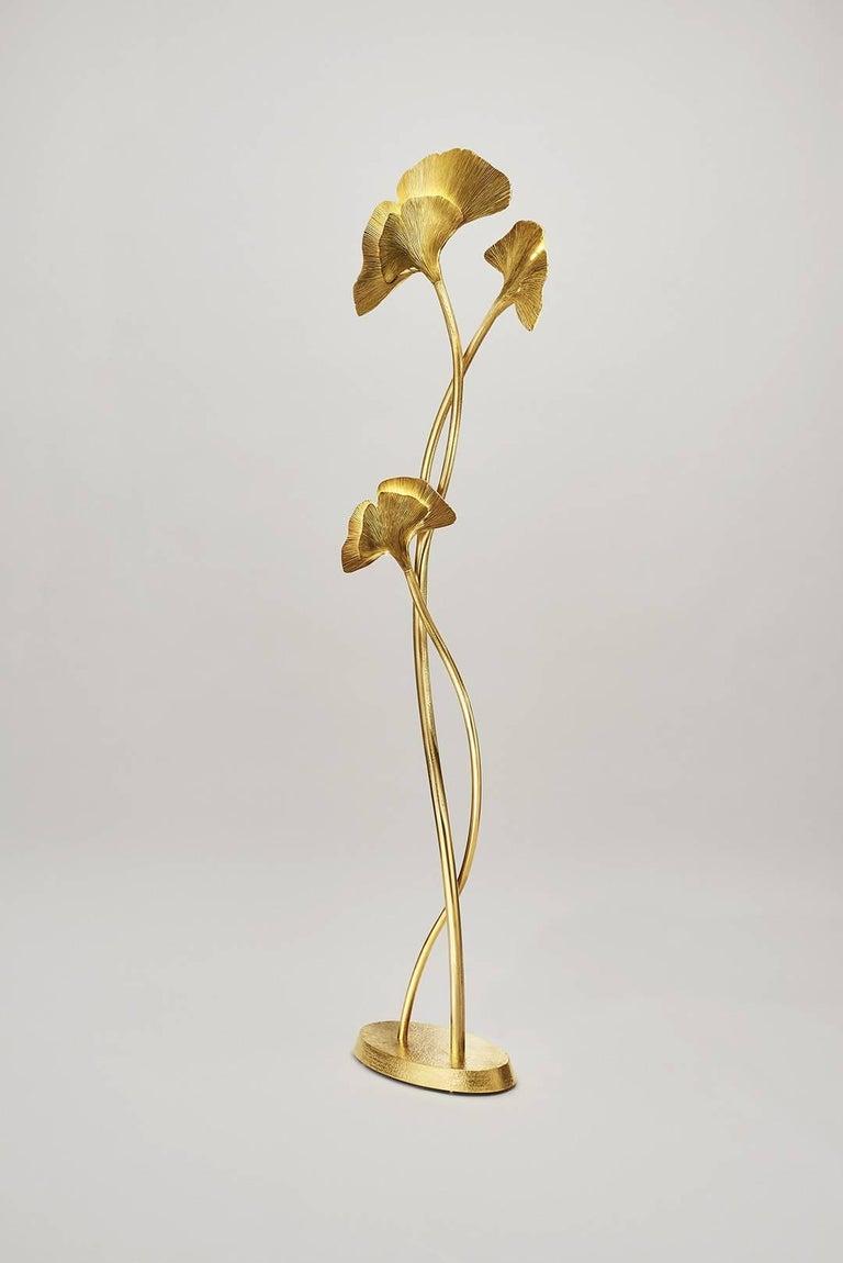 Organic Modern Gingko Biloba Floor Lamp, Design Chrystiane Charles Made in France Charles Paris For Sale