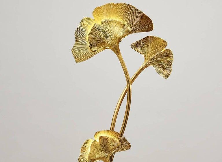 Gilt Gingko Biloba Floor Lamp, Design Chrystiane Charles Made in France Charles Paris For Sale