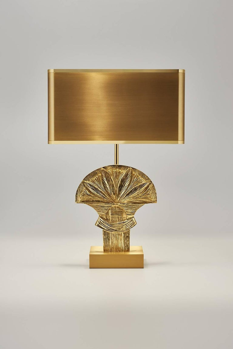 Table lamp made of brass, with brass shade, designed by Chrystiane Charles, signed and numbered, made in France. Rare: Edited only 2 times.