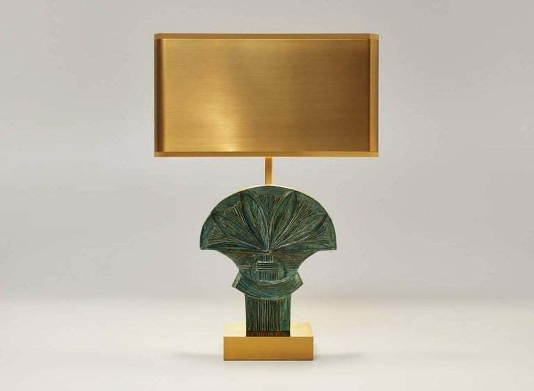Egyptian Table Lampe Assouan Made of Brass Signed and Numbered Made in France Rare For Sale