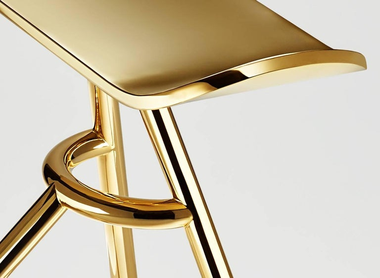 Modern Stool, Standing Stool Made of Brass Signed, Made in France For Sale