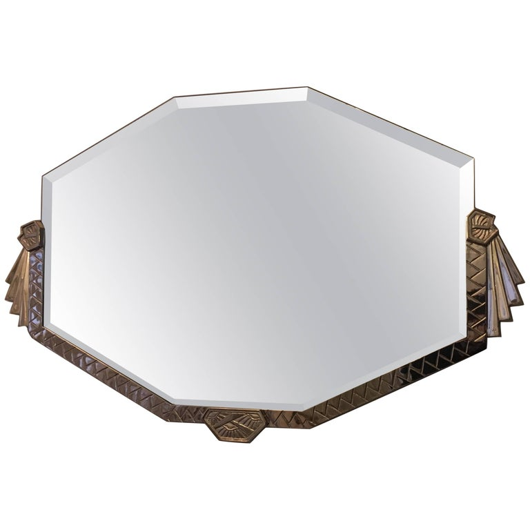 Art Deco Bronze Mirror with Nickel Finish For Sale