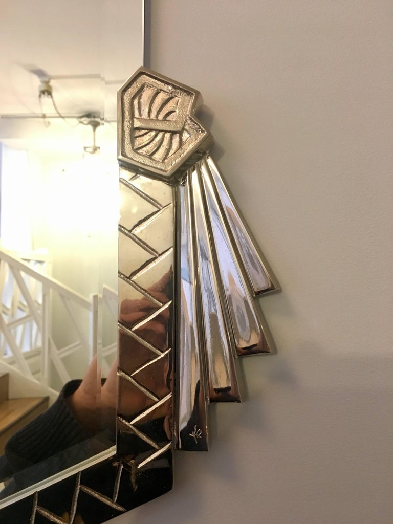 French Art Deco Bronze Mirror with Nickel Finish For Sale