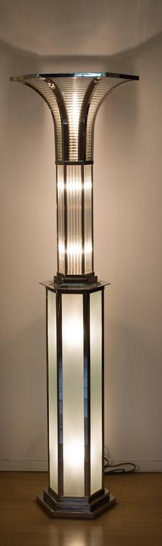 Art Deco lamp and column with nickel finish.