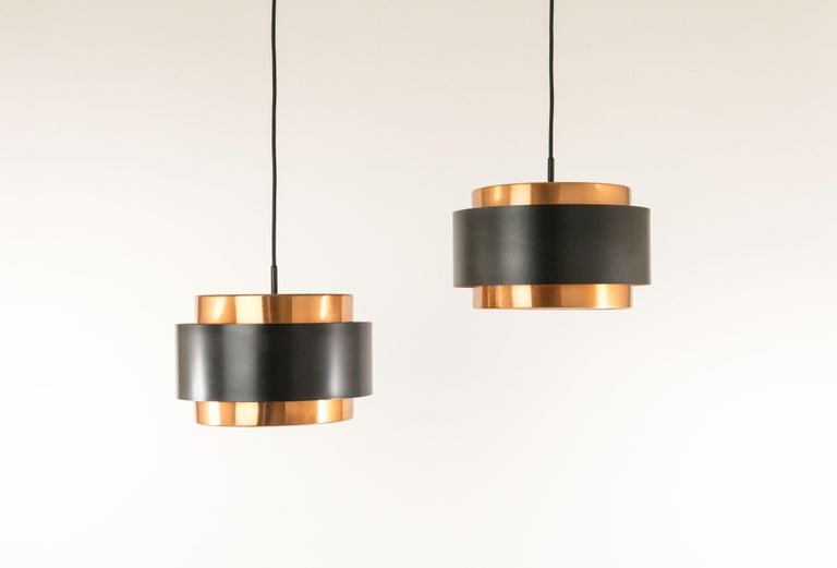 Pair of pendants named Saturn, designed by Danish designer Jo Hammerborg and manufactured by Fog & Mørup.