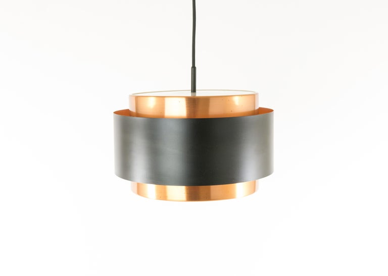Lacquered Pair of Copper 'Saturn' Pendants by Jo Hammerborg for Fog & Mørup, 1960s For Sale