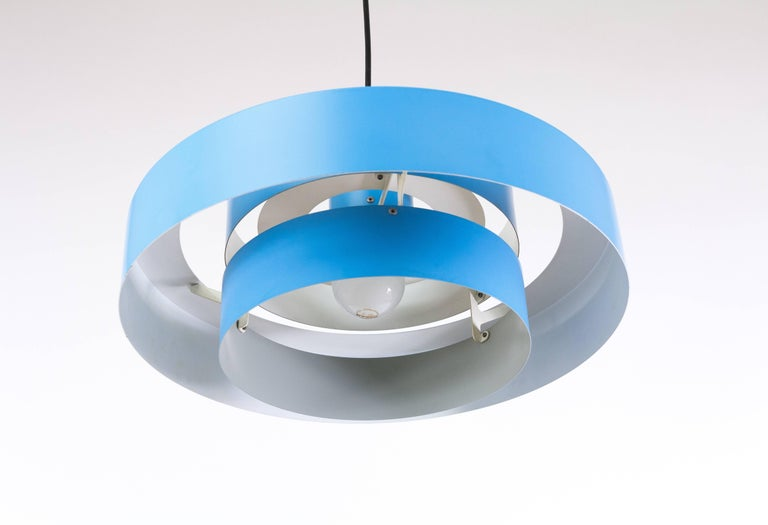 Blue Equator Pendant by Jo Hammerborg for Fog & Mørup, 1960s In Excellent Condition For Sale In Rotterdam, NL