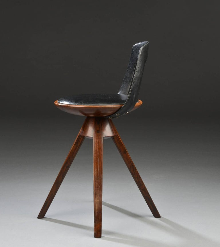 Swivel Stool with Backrest In Rosewood by Tove & Edvard Kindt-Larsen 2