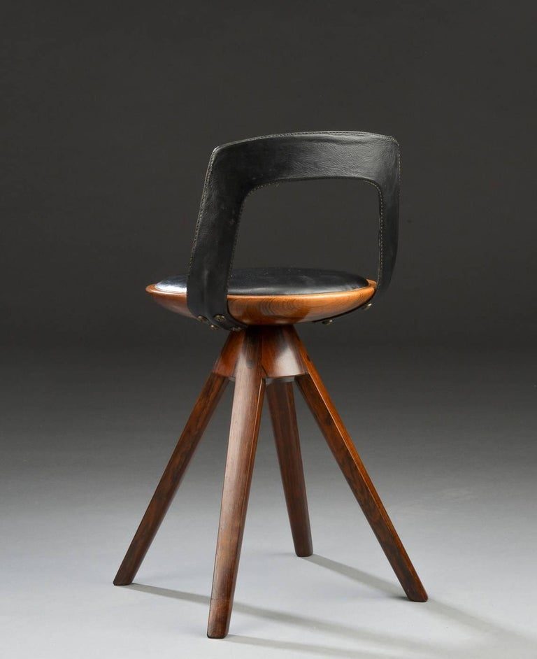 Swivel Stool with Backrest In Rosewood by Tove & Edvard Kindt-Larsen 3