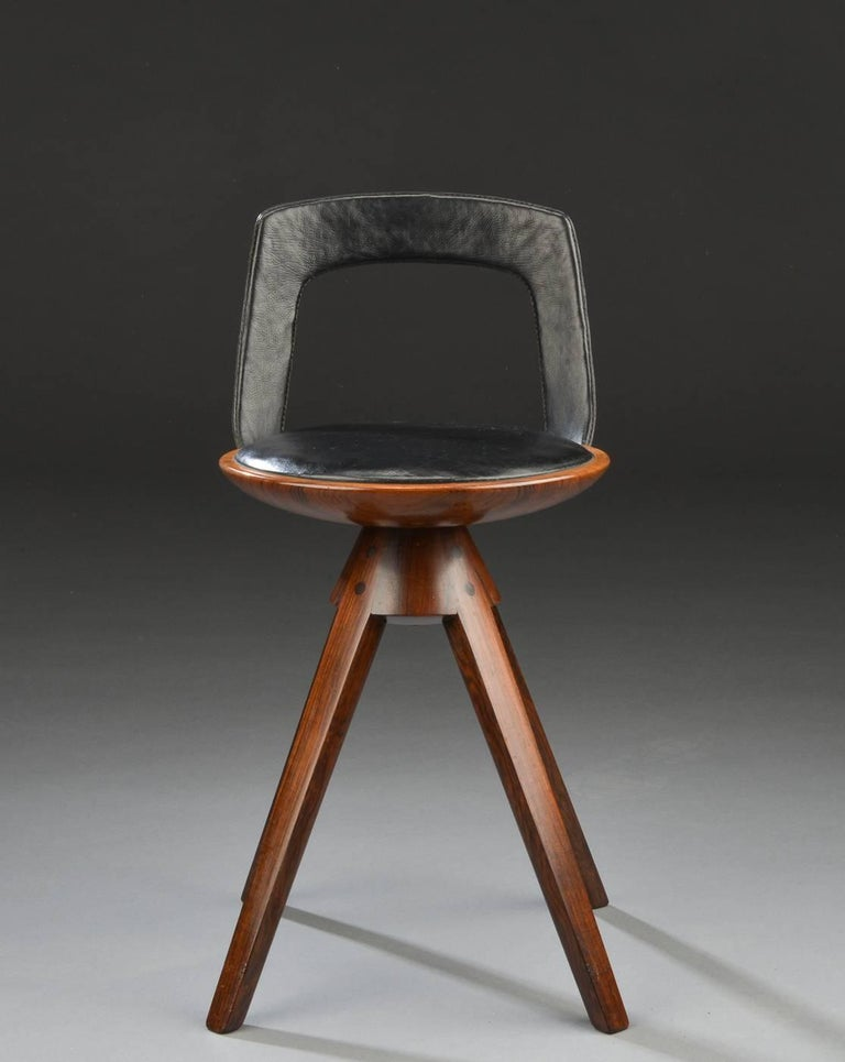 Swivel Stool with Backrest In Rosewood by Tove & Edvard Kindt-Larsen 4