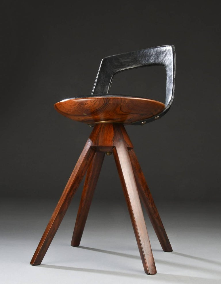 Swivel Stool with Backrest In Rosewood by Tove & Edvard Kindt-Larsen 5
