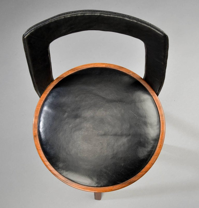 Swivel Stool with Backrest In Rosewood by Tove & Edvard Kindt-Larsen 6