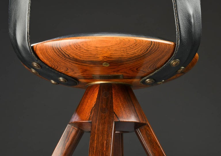 Swivel Stool with Backrest In Rosewood by Tove & Edvard Kindt-Larsen 7