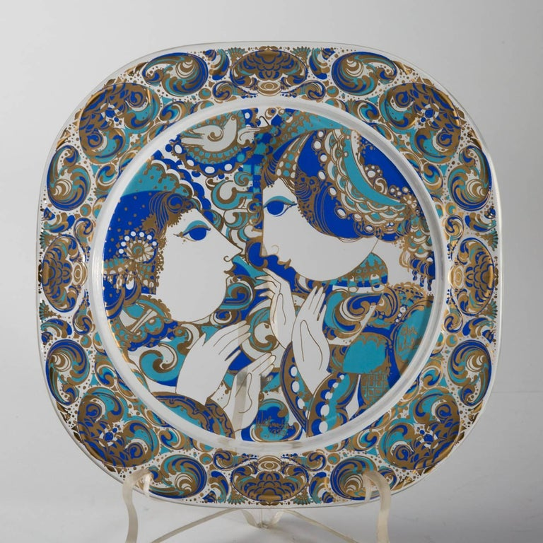 Christmas plates in glass by artist björn wiinblad for